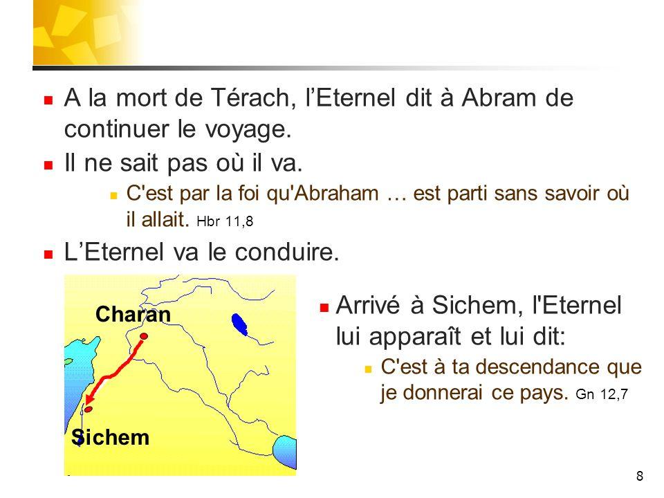 A la mort de Térach, l'Eternel dit à Abram de continuer le voyage.