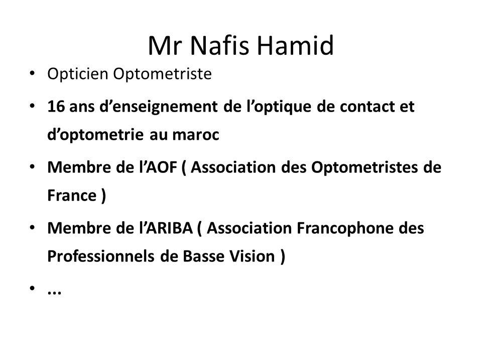 Mr Nafis Hamid Opticien Optometriste