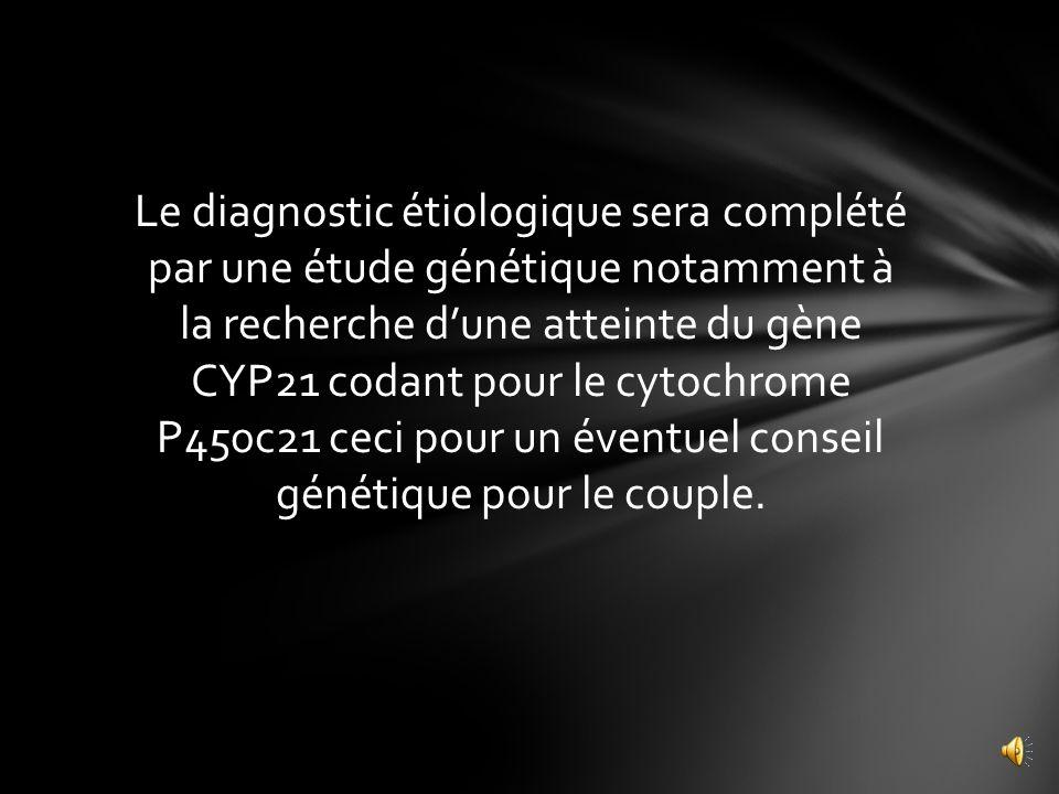 Le diagnostic étiologique sera complété par une étude génétique notamment à la recherche d'une atteinte du gène CYP21 codant pour le cytochrome P450c21 ceci pour un éventuel conseil génétique pour le couple.