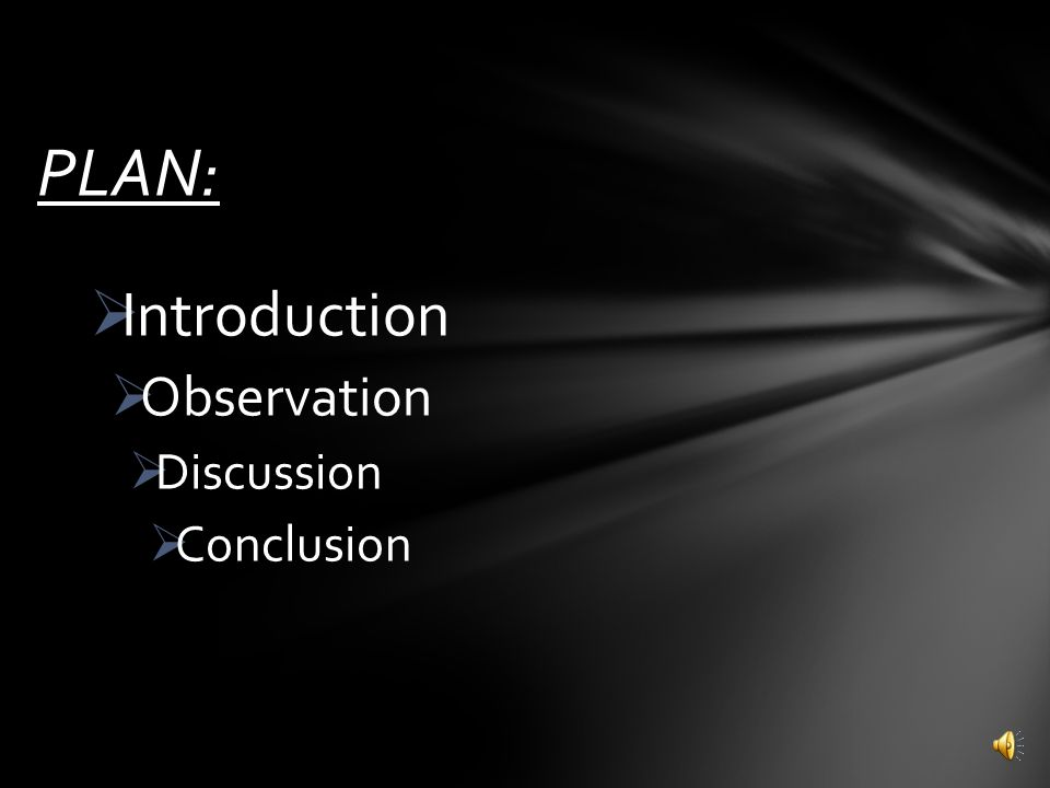 PLAN: Introduction Observation Discussion Conclusion