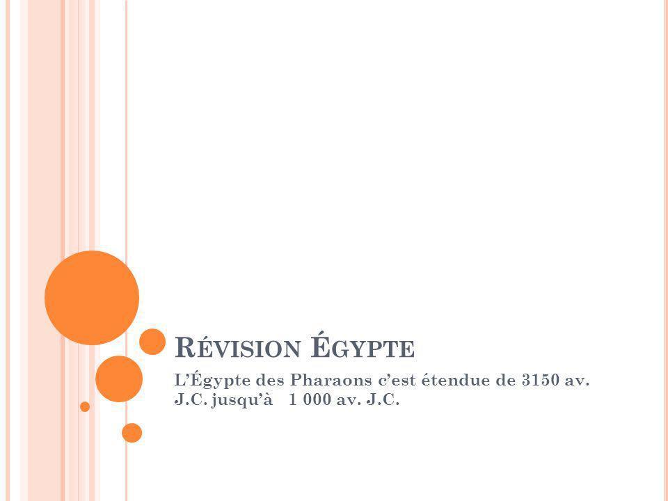 Révision Égypte L'Égypte des Pharaons c'est étendue de 3150 av. J.C. jusqu'à 1 000 av. J.C.