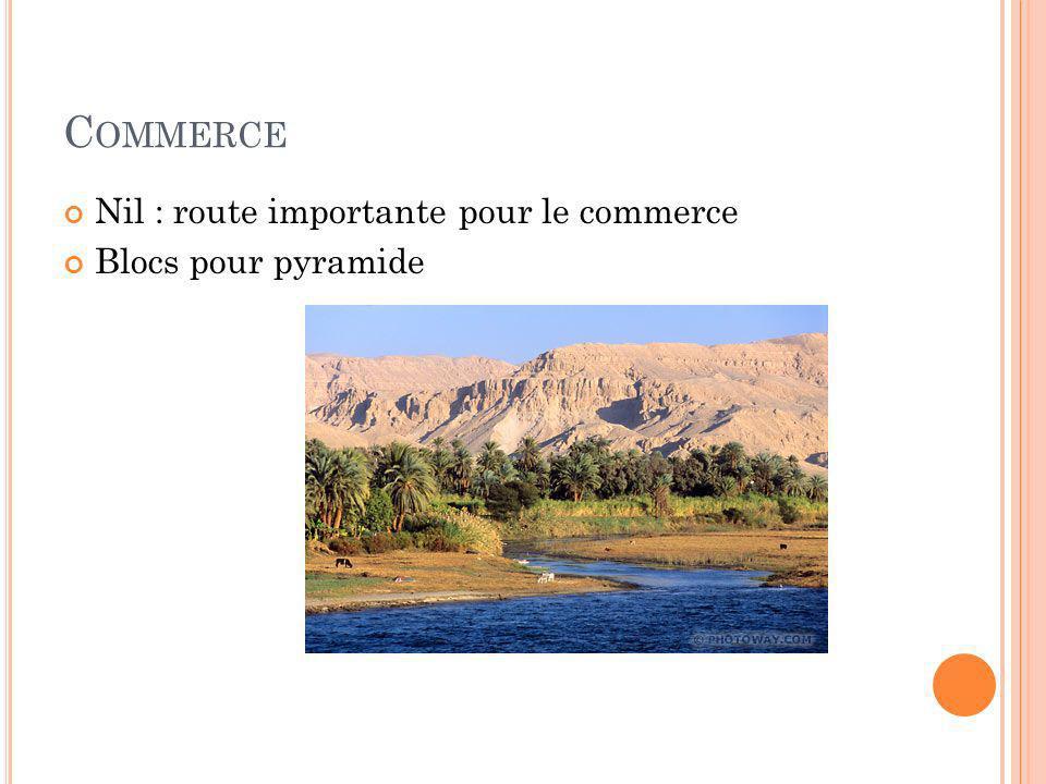 Commerce Nil : route importante pour le commerce Blocs pour pyramide