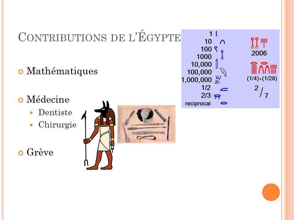Contributions de l'Égypte