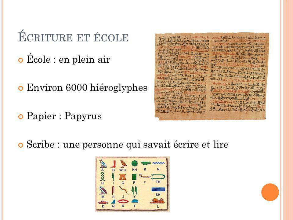 Écriture et école École : en plein air Environ 6000 hiéroglyphes