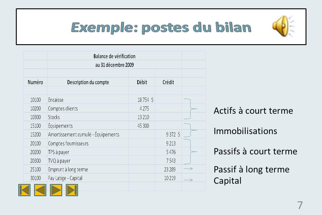 Exemple: postes du bilan