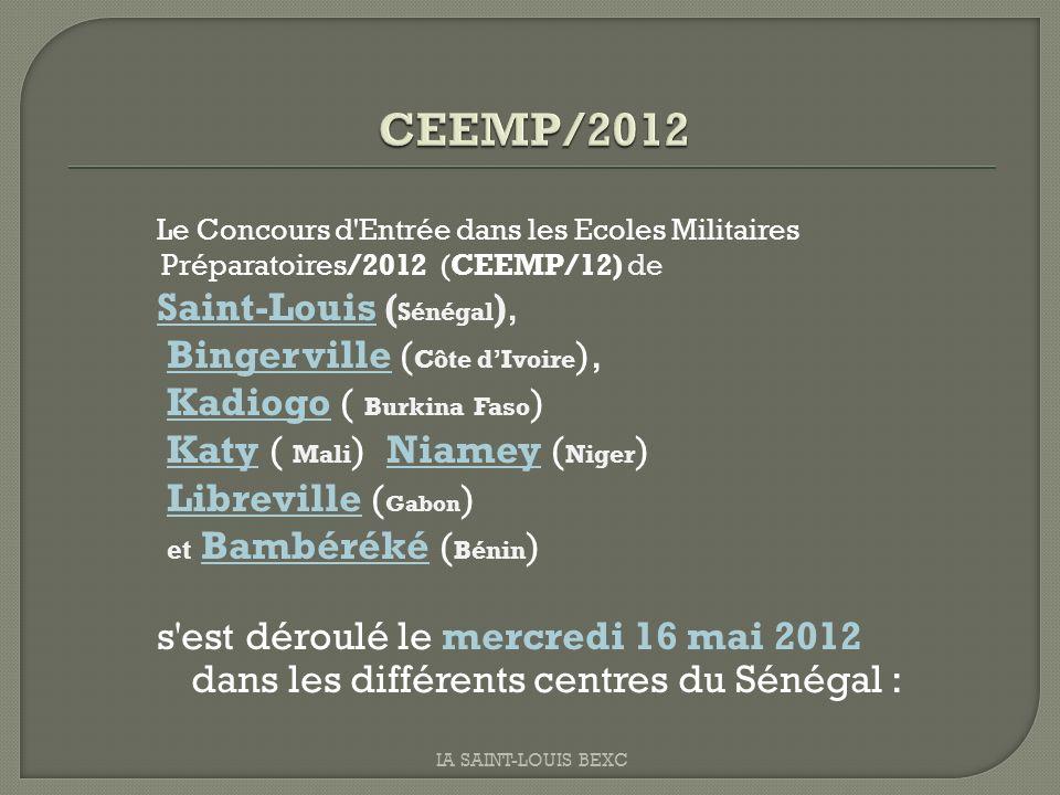 CEEMP/2012 Saint-Louis (Sénégal), Bingerville (Côte d'Ivoire),