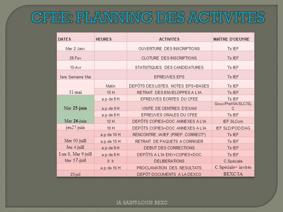 CFEE: PLANNING DES ACTIVITES