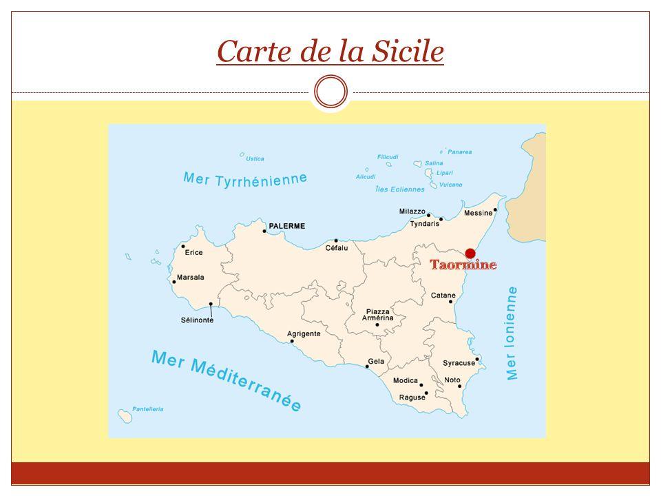 Carte de la Sicile Taormine
