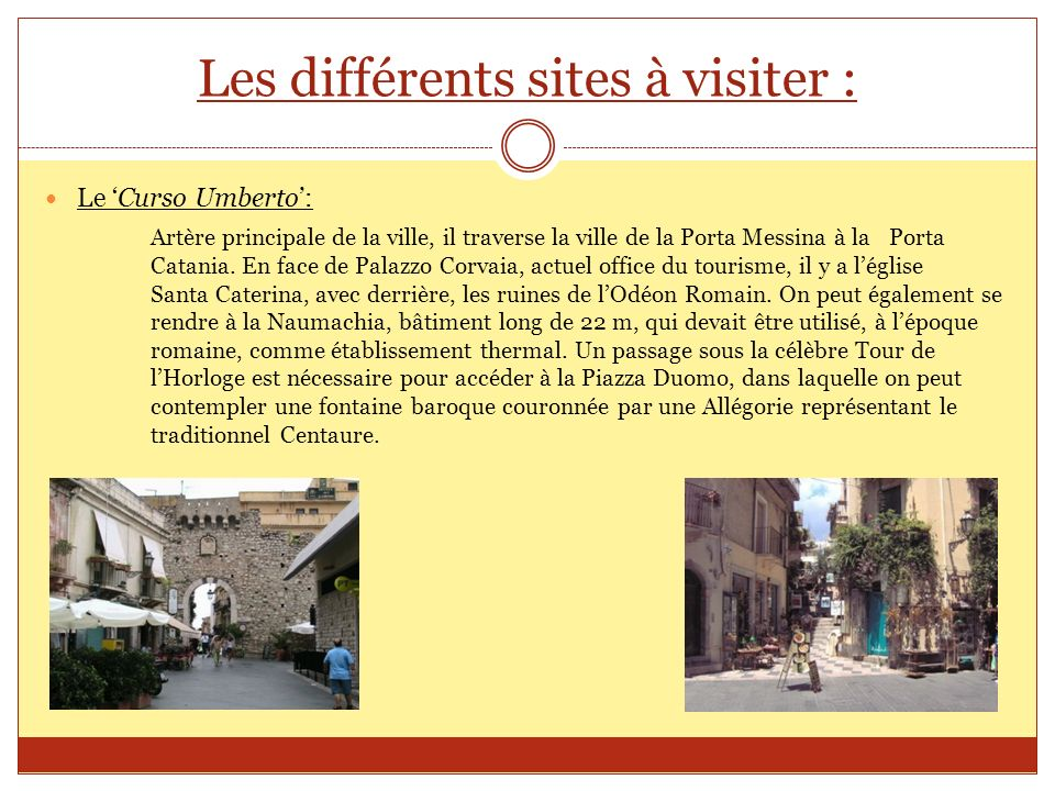 Les différents sites à visiter :