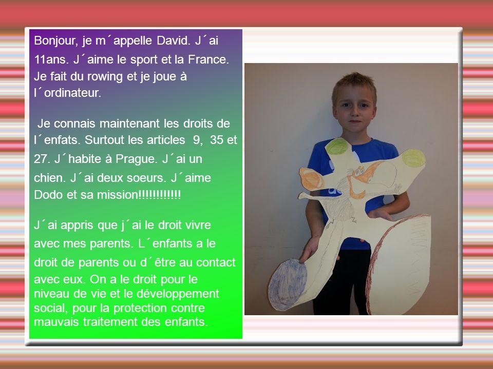 Bonjour, je m´appelle David. J´ai 11ans. J´aime le sport et la France