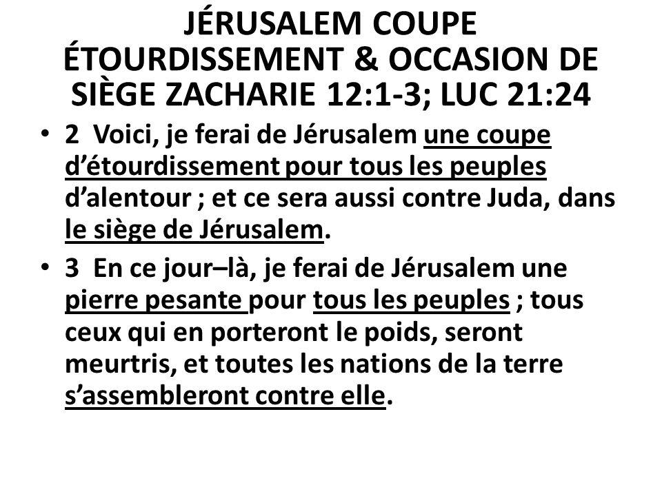 JÉRUSALEM COUPE ÉTOURDISSEMENT & OCCASION DE SIÈGE ZACHARIE 12:1-3; LUC 21:24