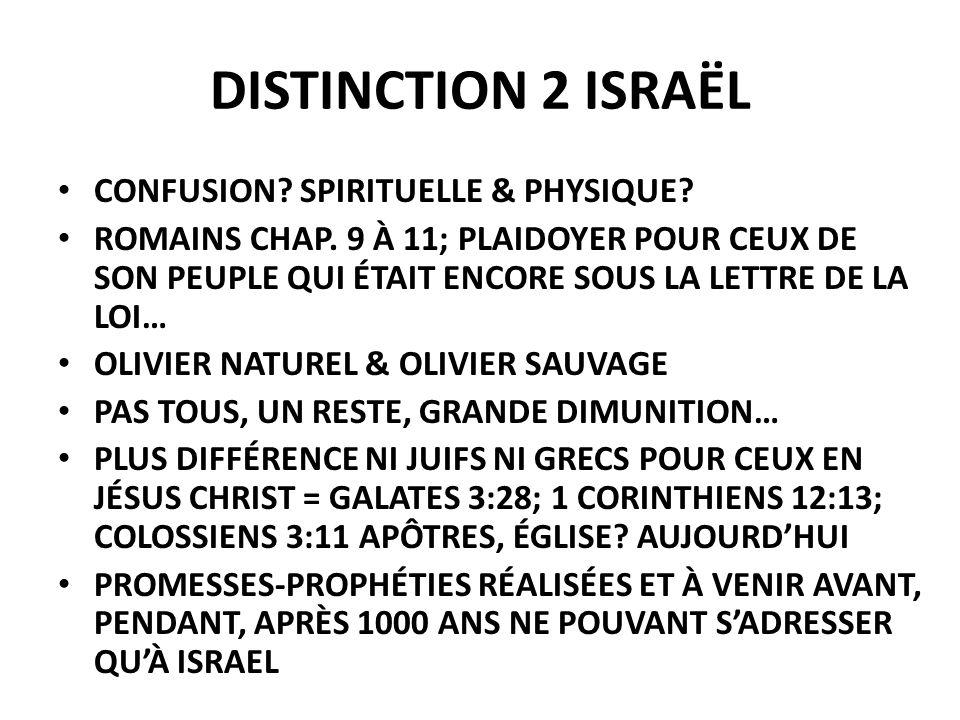 DISTINCTION 2 ISRAËL CONFUSION SPIRITUELLE & PHYSIQUE