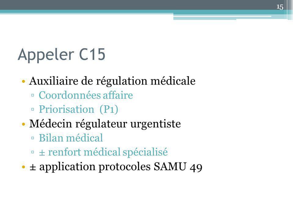 Appeler C15 Auxiliaire de régulation médicale