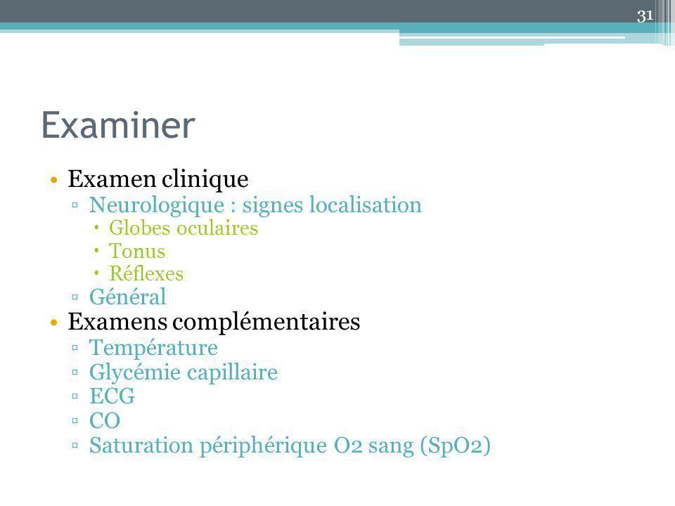 Examiner Examen clinique Examens complémentaires