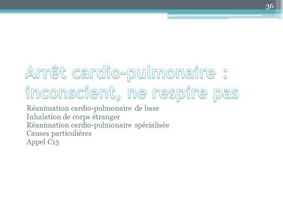 Arrêt cardio-pulmonaire : inconscient, ne respire pas