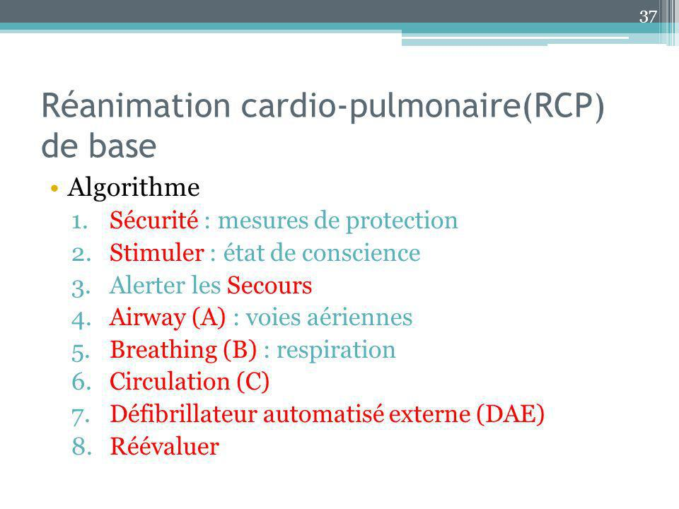 Réanimation cardio-pulmonaire(RCP) de base