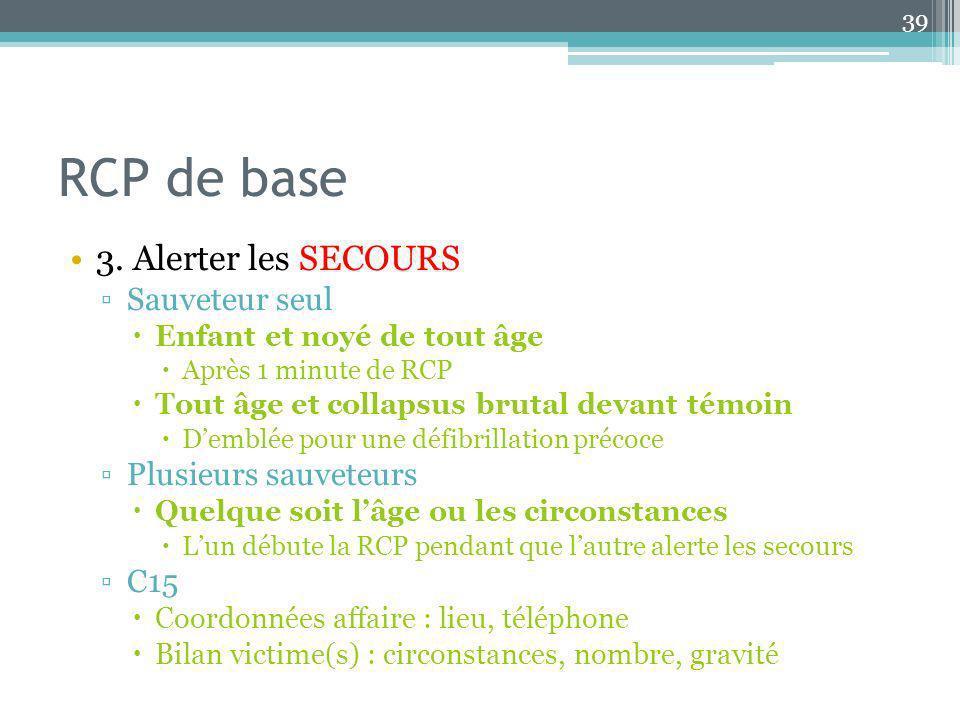 RCP de base 3. Alerter les SECOURS Sauveteur seul Plusieurs sauveteurs