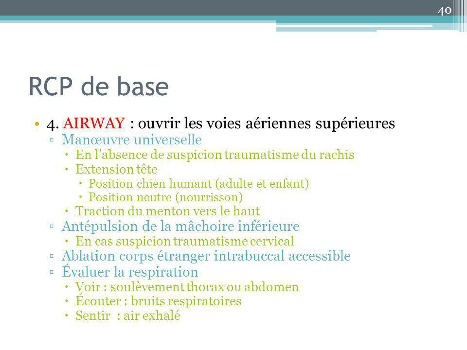 RCP de base 4. AIRWAY : ouvrir les voies aériennes supérieures