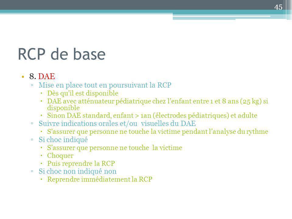 RCP de base 8. DAE Mise en place tout en poursuivant la RCP