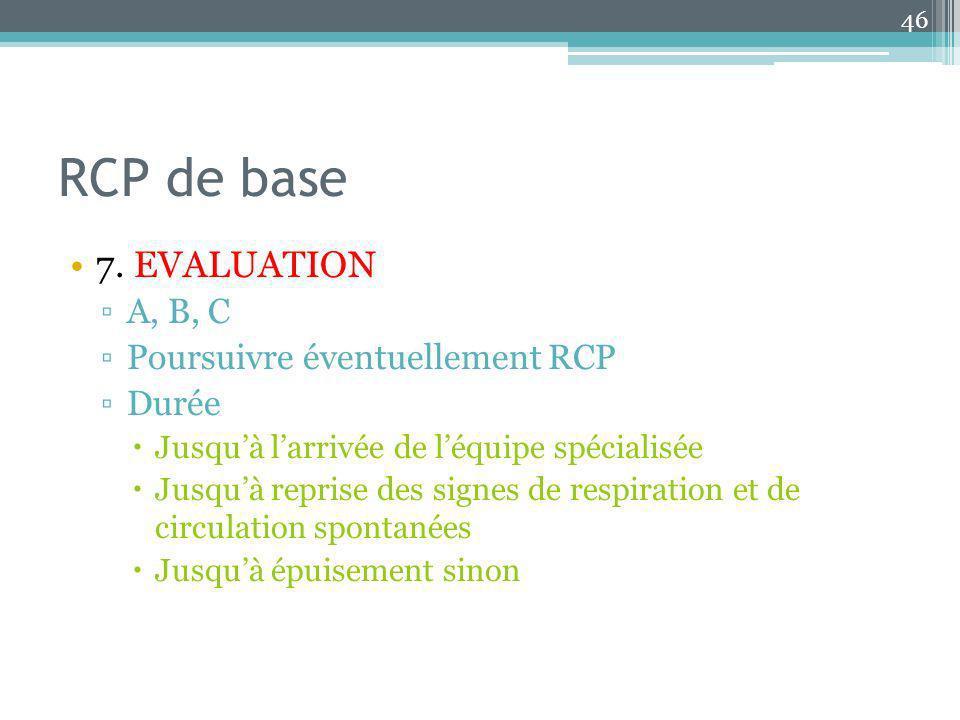 RCP de base 7. EVALUATION A, B, C Poursuivre éventuellement RCP Durée
