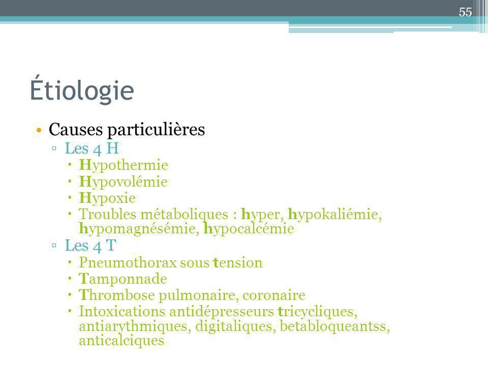 Étiologie Causes particulières Les 4 H Les 4 T Hypothermie Hypovolémie