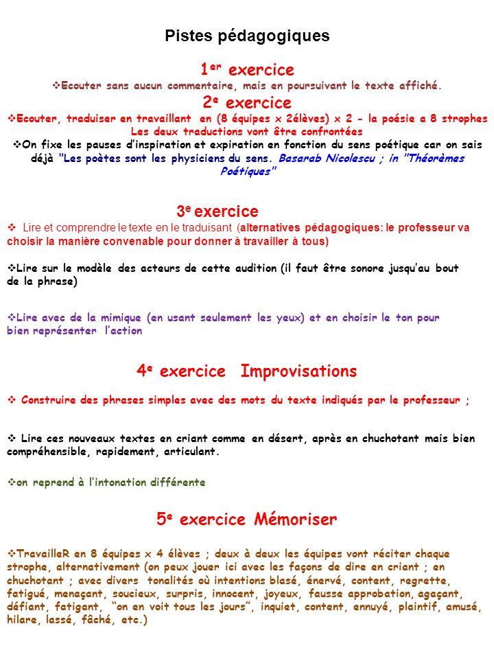 4e exercice Improvisations