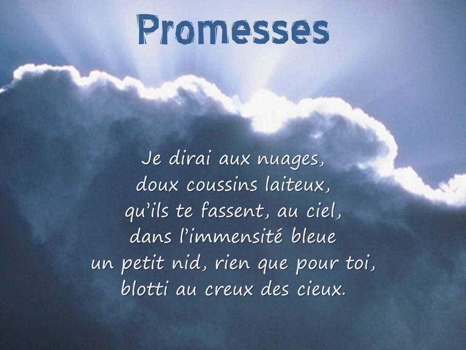 Promesses Je dirai aux nuages, doux coussins laiteux,