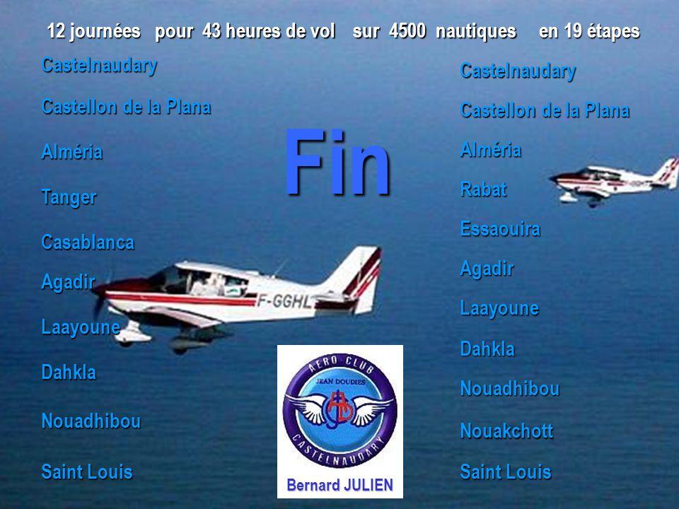 Fin 12 journées pour 43 heures de vol sur 4500 nautiques en 19 étapes