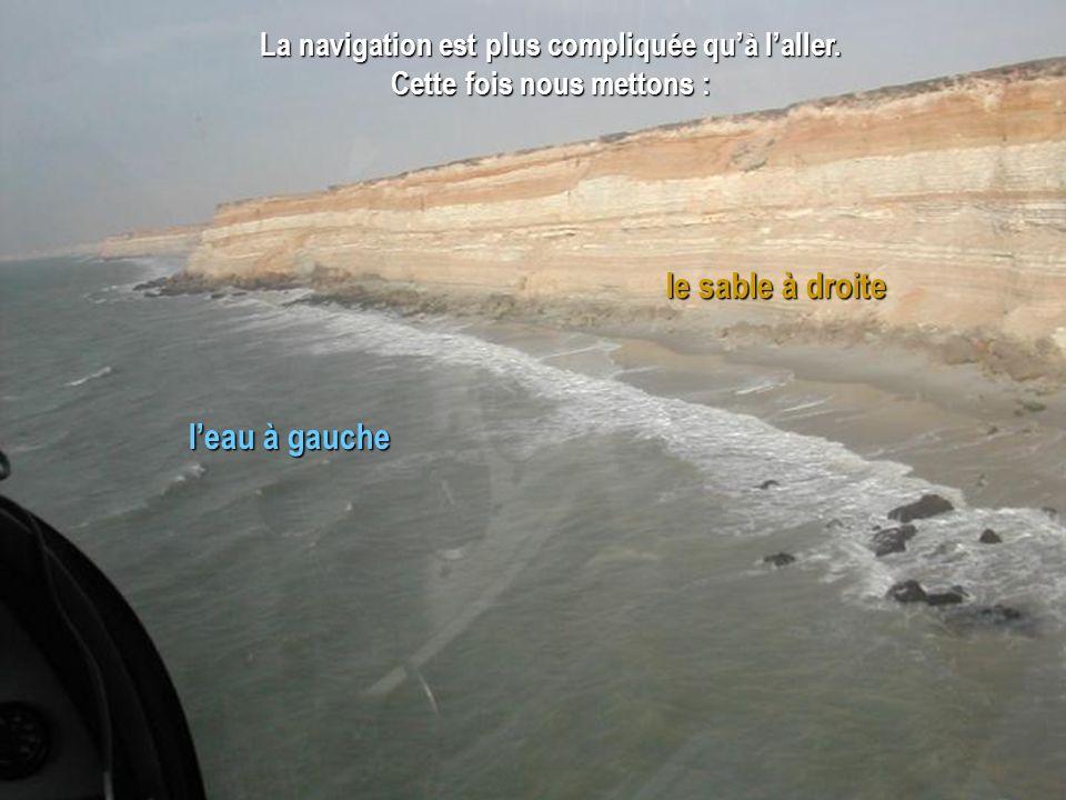 le sable à droite l'eau à gauche