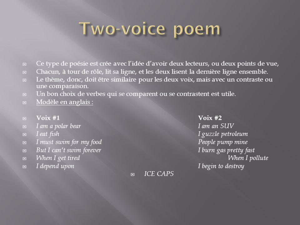 Two-voice poem Ce type de poésie est crée avec l'idée d'avoir deux lecteurs, ou deux points de vue,