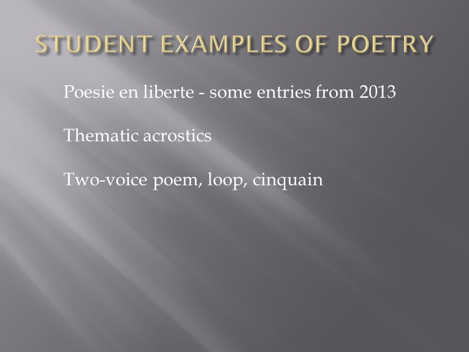 STUDENT EXAMPLES OF POETRY