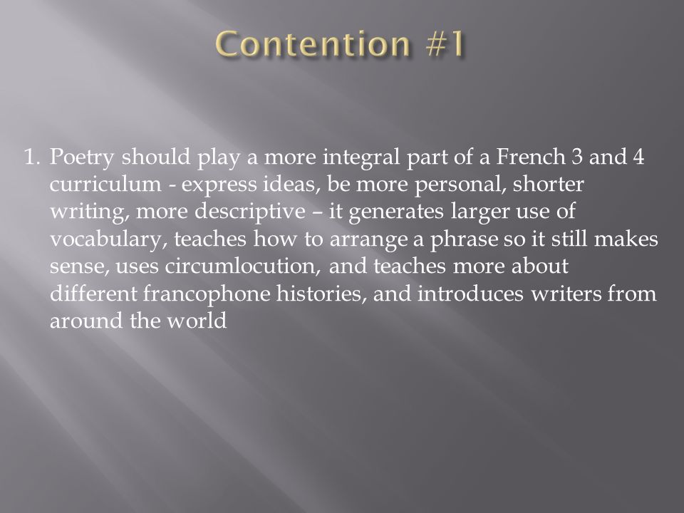 Contention #1