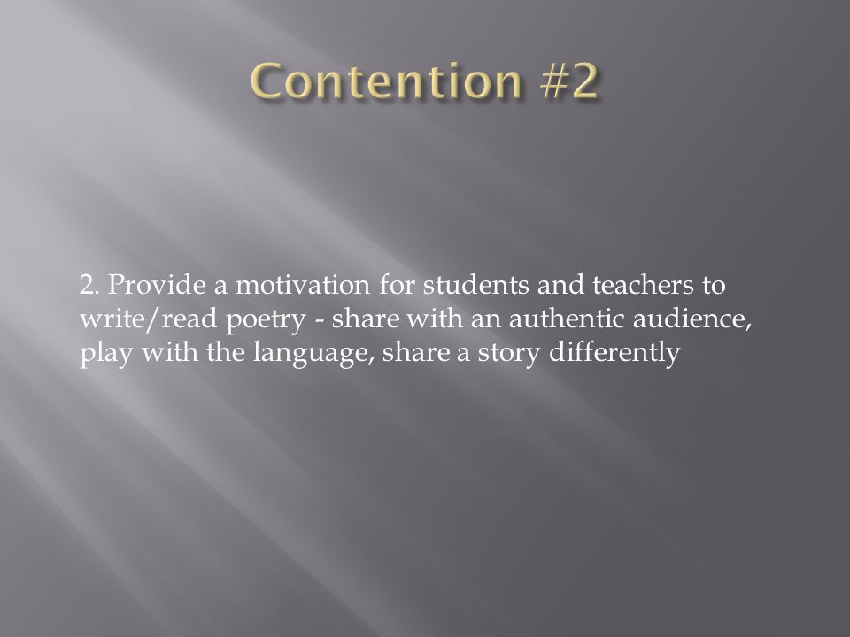 Contention #2
