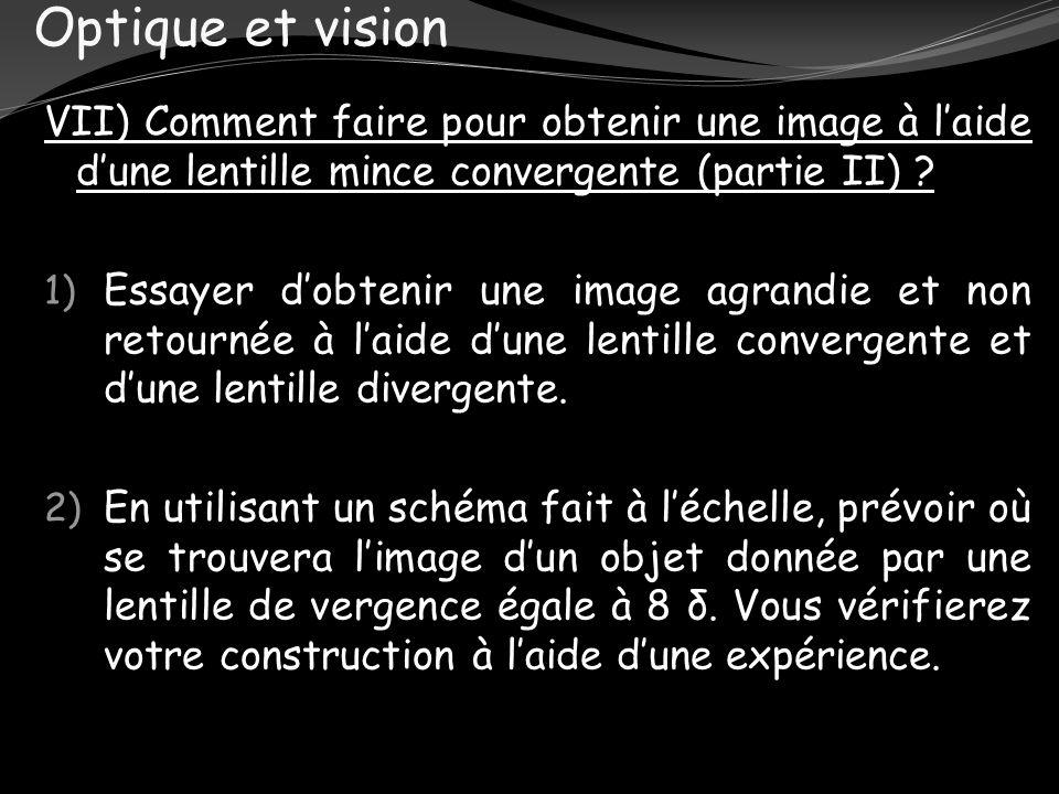 Optique et vision VII) Comment faire pour obtenir une image à l'aide d'une lentille mince convergente (partie II)