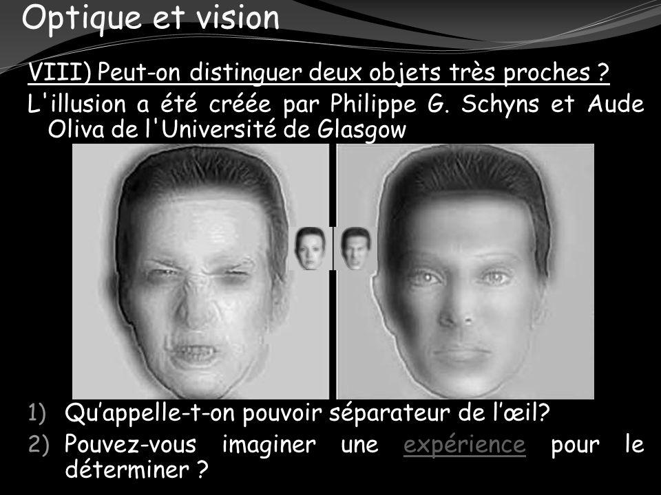 Optique et vision VIII) Peut-on distinguer deux objets très proches