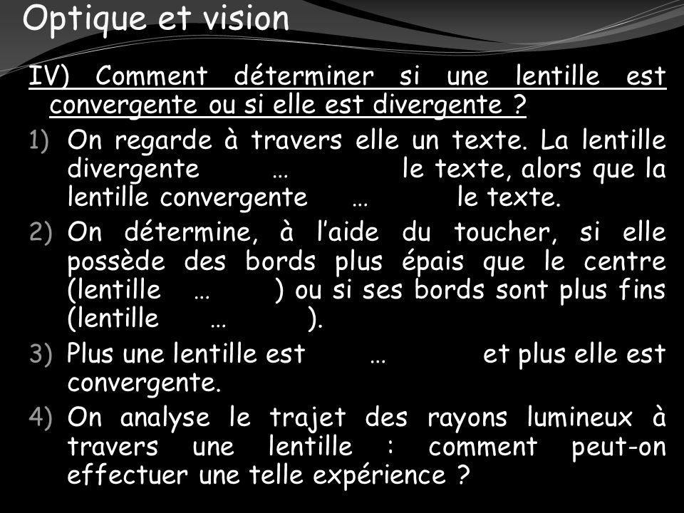 Optique et vision IV) Comment déterminer si une lentille est convergente ou si elle est divergente