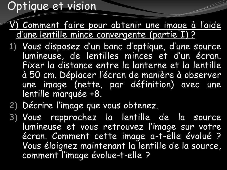 Optique et vision V) Comment faire pour obtenir une image à l'aide d'une lentille mince convergente (partie I)