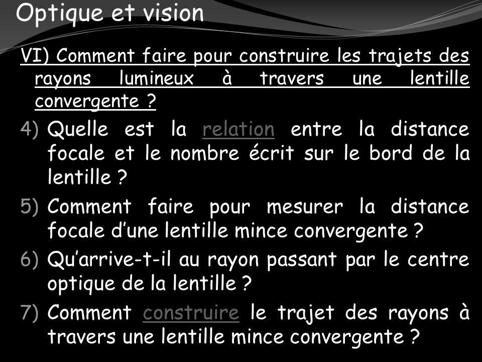 Optique et vision VI) Comment faire pour construire les trajets des rayons lumineux à travers une lentille convergente