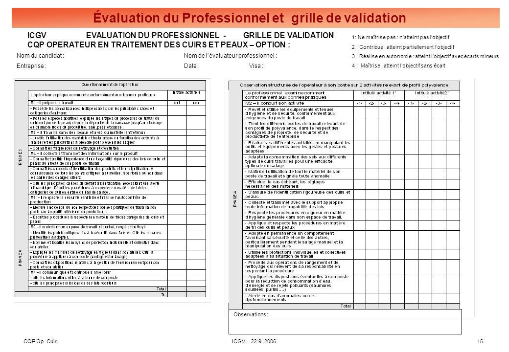 Grille de synthèse des 3 évaluations pour l'obtention du CQP