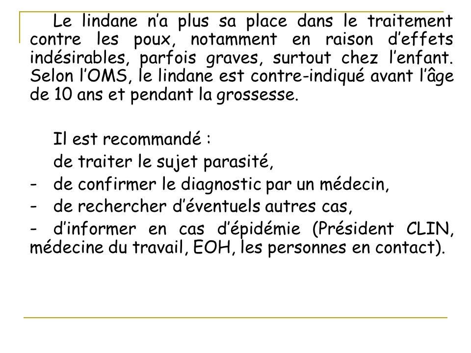 Le lindane n'a plus sa place dans le traitement contre les poux, notamment en raison d'effets indésirables, parfois graves, surtout chez l'enfant. Selon l'OMS, le lindane est contre-indiqué avant l'âge de 10 ans et pendant la grossesse.