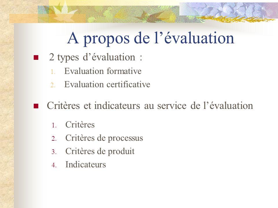 A propos de l'évaluation