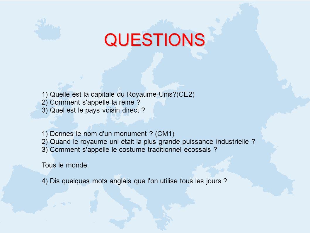 QUESTIONS 1) Quelle est la capitale du Royaume-Unis (CE2)