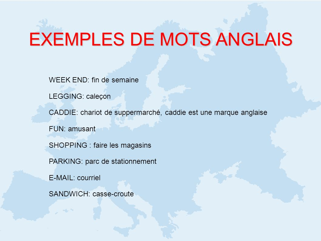 EXEMPLES DE MOTS ANGLAIS