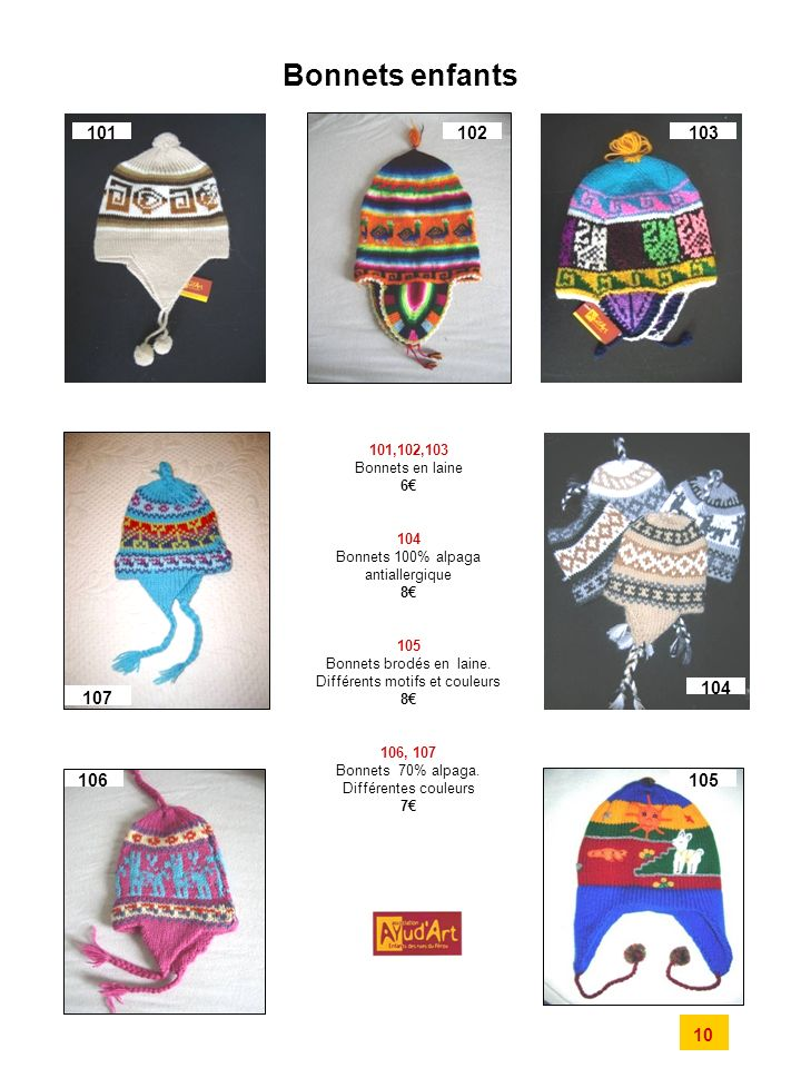 Bonnets enfants 101. 102. 103. 101,102,103. Bonnets en laine. 6€ 104. Bonnets 100% alpaga antiallergique.