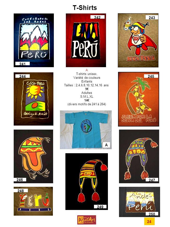 T-Shirts 242. 243. 241. A. T-shirts unisex. Variété de couleurs. Enfants. Tailles : 2,4,6,8,10,12,14,16 ans