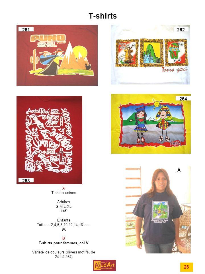 T-shirts 261 262 264 A 263 26 A T-shirts unisex Adultes S,M,L,XL 14€
