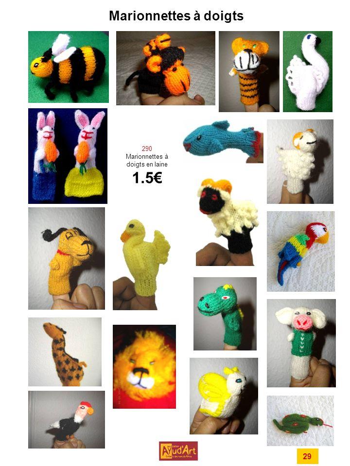 290 Marionnettes à doigts en laine 1.5€