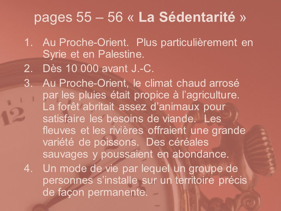 pages 55 – 56 « La Sédentarité »