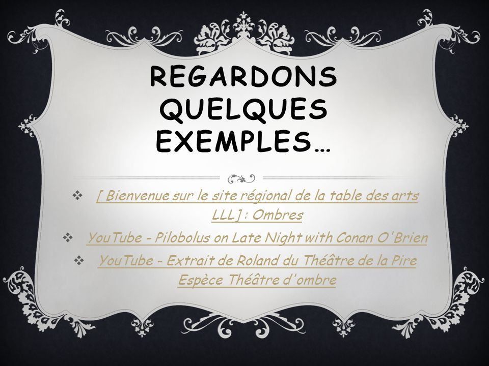 REGARDONS QUELQUES EXEMPLES…