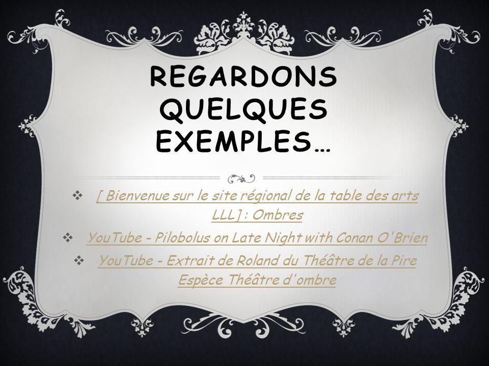 REGARDONS QUELQUES EXEMPLES…